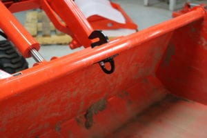 Bolt on tractor bucket hooks